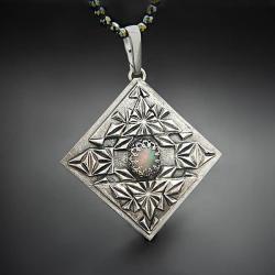 srebrny,naszyjnik,z opalem,geometryczny - Naszyjniki - Biżuteria