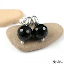 mini,onyks,fasetowane,kulki,srebro,czarne,sztyft - Kolczyki - Biżuteria