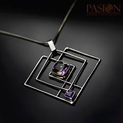 Srebrny naszyjnik z Ametrynem i Ametystem - Naszyjniki - Biżuteria