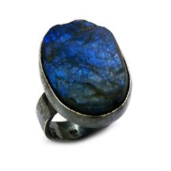 labradoryt,blask,srebrny,kobalt,niebieski,retro - Pierścionki - Biżuteria