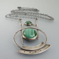 srebrny wisior z malachitem - Wisiory - Biżuteria
