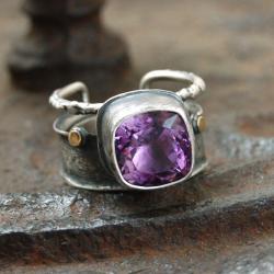 srebrno złoty pierścionek z ametystem - Pierścionki - Biżuteria