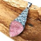 Wisiory kobaltokalcyt,srebrny,szary,różowy,minerał,kalcyt,