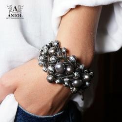 bransoleta ze skóry i pereł,damska biżuteria - Bransoletki - Biżuteria