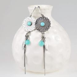 kolczyki,długie,niebieskie,piórka,mandala - Kolczyki - Biżuteria