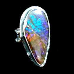 ammolit,blask,fiolet,smok,skóra,srebrny,srebro, - Pierścionki - Biżuteria