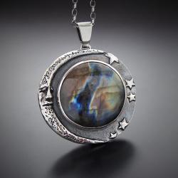 galaktyczny wisior z księżycem i labradorytem - Naszyjniki - Biżuteria