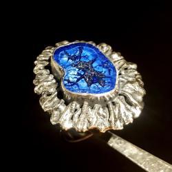 azuryt,kobalt,srebrny,szarości,unikat,mineralny, - Pierścionki - Biżuteria