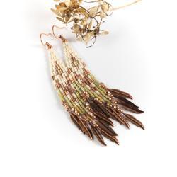 kolczyki indiańskie,kolczyki z frędzlami - Kolczyki - Biżuteria