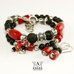 bransoleta z koralowca,kolczyki - Bransoletki - Biżuteria