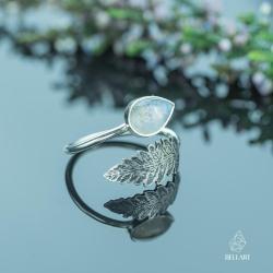 liść,regulowany,naturalny,kamień księżycowy - Pierścionki - Biżuteria