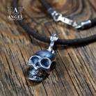 Dla mężczyzn naszyjnik z rzemienia,męska biżuteria z czaszką