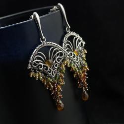 wire-wrapping,bogate,unikatowe,jesienne,piękne - Kolczyki - Biżuteria