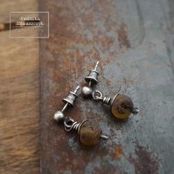 srebro,bursztyn - Kolczyki - Biżuteria