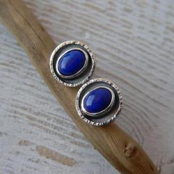 z lapisem lazuli,sztyfty,srebro - Kolczyki - Biżuteria