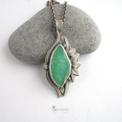 wisiorek z chryzoprazem,zielony kamień - Wisiory - Biżuteria
