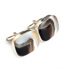 agaty,spinki,męskie,mineralne,blask,brązy - Dla mężczyzn - Biżuteria