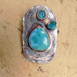 wisior z wieloma kamieniami,srebrny,artystyczny - Wisiory - Biżuteria
