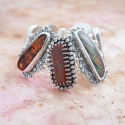 srebrna,bransoletka,z ammolitem i bursztynem - Bransoletki - Biżuteria