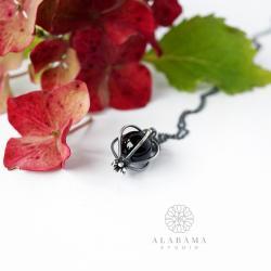 minimalistyczny srebrny wisior z onyksem - Wisiory - Biżuteria
