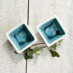 ceramika,miseczki,turkusowe,białe - Ceramika i szkło - Wyposażenie wnętrz