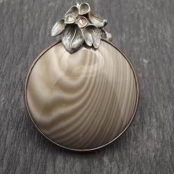 wisior z krzemieniem pasiastym,srebro - Wisiory - Biżuteria