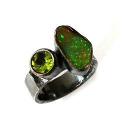opal,srebrny,szary,tęczowy,zielony,peridot,retro - Pierścionki - Biżuteria