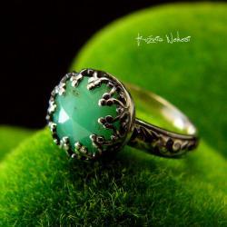 Nehesi,pierścień,srebrny,elfy,delikatny,chryzopraz - Pierścionki - Biżuteria