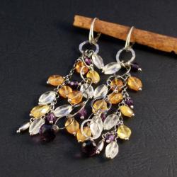 srebrne kolczyki z minerałami - Kolczyki - Biżuteria