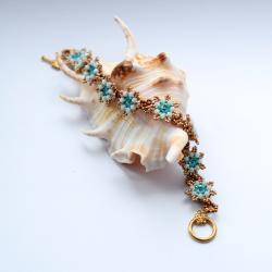 kwiat mięta turkus haft koralikowy bransoleta - Bransoletki - Biżuteria
