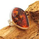 Pierścionki pierścionek bursztyn retro,blask,koniakowy,srebro
