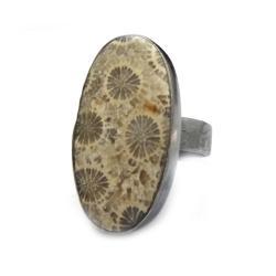 koral,srebrny,szarości,srebro,szary,natura - Pierścionki - Biżuteria