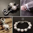 Komplety komplet biżuterii z pereł,bransoleta i kolczyki