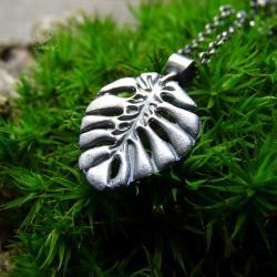 wisior monstera,srebro,monstera,liść - Naszyjniki - Biżuteria