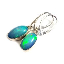 opale,srebrne,retro,okazałe,tęczowe,opal,zieleń, - Kolczyki - Biżuteria