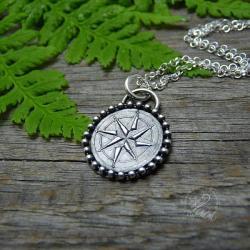 srebro,róża wiatrów,kompas,talizman,amulet - Naszyjniki - Biżuteria