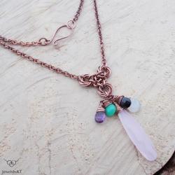 miedziana biżuteria,chainmaille,nowoczesna, - Naszyjniki - Biżuteria
