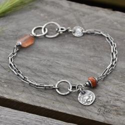 delikatna surowa z kamieniem słonecznym - Bransoletki - Biżuteria