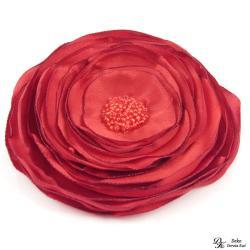 broszka,czerwona,kwiat,satyna,szyta,kwiatowa - Broszki - Biżuteria