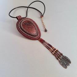 naszyjnik z jaspisem,haft koralikowy - Naszyjniki - Biżuteria