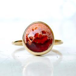 pierścionek,opal,złoty pierścionek, - Pierścionki - Biżuteria
