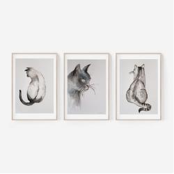 komplet obrazów koty,trzy,tryptyk,akwarele - Obrazy - Wyposażenie wnętrz