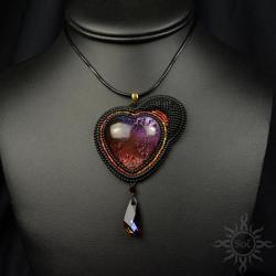 serce,walentynki,asymetryczny,czarny,cieniowany, - Wisiory - Biżuteria
