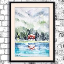 akwarela,las,domek,romantyczny - Obrazy - Wyposażenie wnętrz