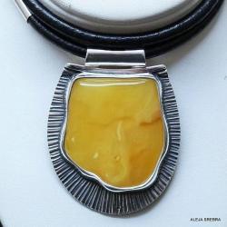 naszyjnik z bursztynem,srebro,biżuteria,wisiory - Naszyjniki - Biżuteria