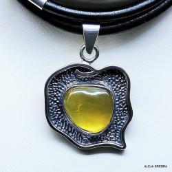 bursztyn,wisior,srebro z bursztynem,naszyjnik - Naszyjniki - Biżuteria
