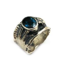 topaz,srebrny,ciemny,granat,london,blue,retro - Pierścionki - Biżuteria