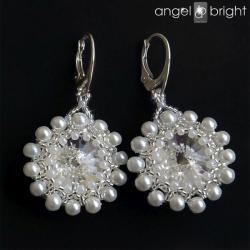 kolczyki,białe,perłowe,ślubne,kwiaty - Kolczyki - Biżuteria