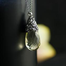 romantyczny naszyjnik,ręcznie rzeźbiony,unikat - Wisiory - Biżuteria