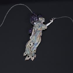 srebrna wróżka wisior,wróżka ze skrzydłami - Naszyjniki - Biżuteria